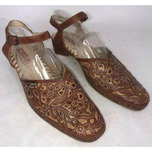Pikolinos Brown Laser Cut Ankle Strap Sandals